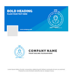 Blue business logo template for fast speed vector