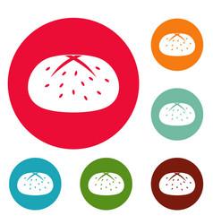 bun icons circle set vector image
