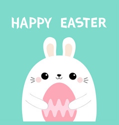 bunny rabbit holding pink painting egg happy vector image
