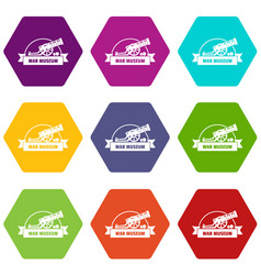 Cannon ball icons set 9 vector