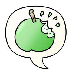 Cartoon fresh bitten apple and speech bubble vector
