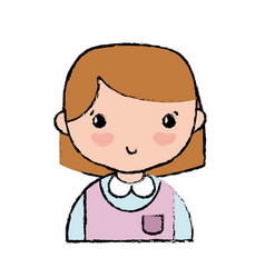Casual girl with hairstyle and blouse uniform vector