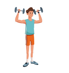 Character man lifting heavy barbell vector