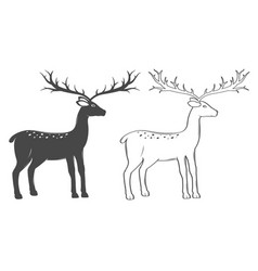 christmas reindeer set on white background vector image