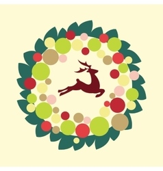 Christmas wreath with color ball and deer vector