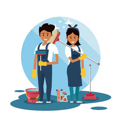 Cleaners with cleaning products housekeeping vector