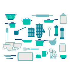 collection glassware kitchenware and cookware vector image