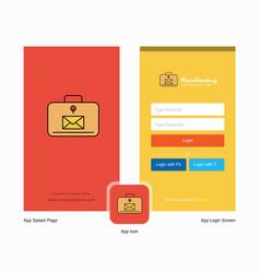 company message briefcase splash screen and login vector image