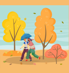 Couple walking in autumn park with falling leaves vector