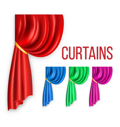 curtain red silk set velvet theater or vector image