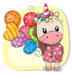 cute cartoon unicorn with balloons vector image