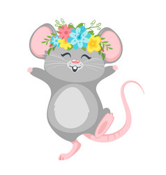 Cute mouse wearing wreath cartoon character vector