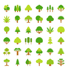 cute simple tree and plant icon flat design vector image
