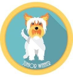 Dog Junior winner medal icon flat design vector