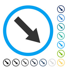 Down-right rounded arrow icon vector