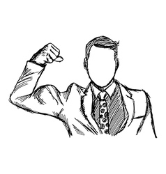 Expressive businessman flexing muscles vector