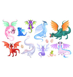 fairy dragons fantasy colorful creatures vector image