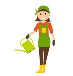 farmer gardener woman with with watering can in vector image