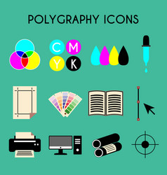 flat color printing polygraphy icons set bezier vector image