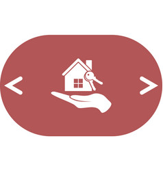 Flat paper cut style icon of home and keys vector