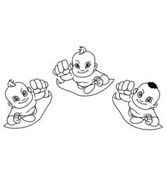 flying babies line art vector image