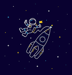 Funny flying astronaut in space with rocket and vector