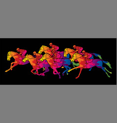 group jockeys riding horse sport competition vector image