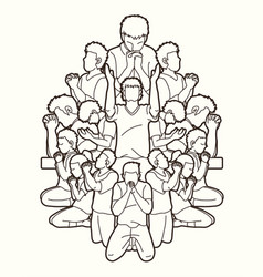 Group of people pray to god prayer vector