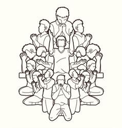 Group people pray to god prayer vector