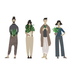 Group young people holding potted plants vector