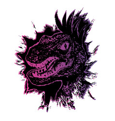 grunge velociraptor portrait vector image