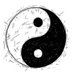 Hand drawing of yin yang jin jang symbol vector