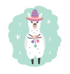 Hand drawn cartoon llama character in sombrero vector