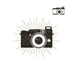 Hand drawn vintage camera label with sunbursts vector