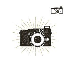 hand drawn vintage camera label with sunbursts vector image