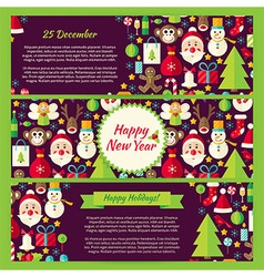Happy New Year Winter Template Banners Flat Set vector image