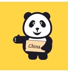 hitchhiking Panda holding thumbs up and trying to vector image