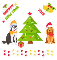 Holiday husky and spaniel new year background vector