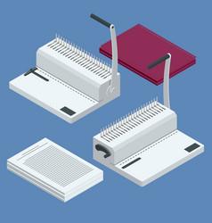 Isometric binder machine binding documents vector