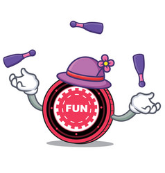 Juggling funfair coin mascot cartoon vector