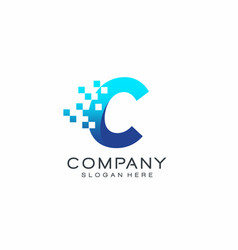 Letter c pixel logo technology and digital vector