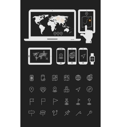Map line thin icons with gadgets mock ups vector