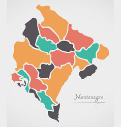 Montenegro map with states vector