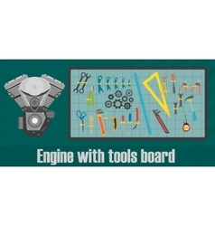 Motor engine with mechanical tool board concept vector image