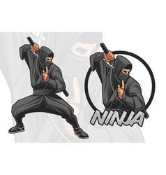 ninja character design for logo vector image