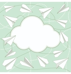 Paper Planes and Cloud Background vector image