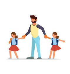 parents and children go to school together vector image