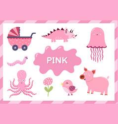 Pink educational worksheet for kids learning vector