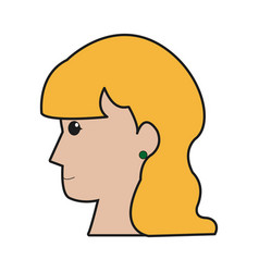 Profile head woman young female vector