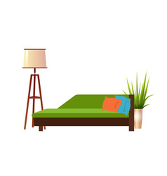 realistic green sofa with floor lamp and flowerpot vector image